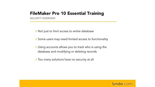 Understanding security issues: FileMaker Pro 10 Essential Training