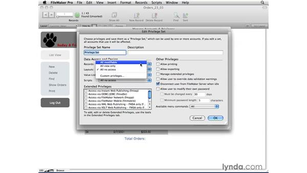 Setting up privilege sets and external privileges: FileMaker Pro 10 Essential Training