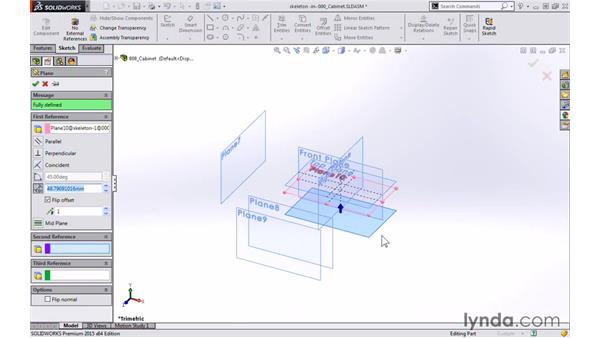 Creating reference planes for the bottom of the cabinet: Modeling a Cabinet with SOLIDWORKS