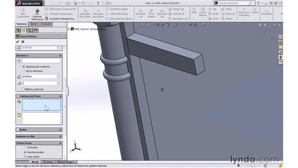 Shelf adjustment holes: Modeling a Cabinet with SOLIDWORKS