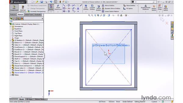 Drawer bottom: Modeling a Cabinet with SOLIDWORKS