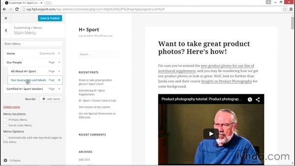 Creating and customizing menus: WordPress Essential Training