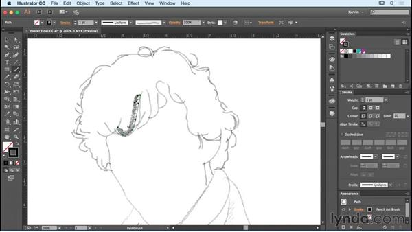 Sketching using pencil brushes: Designing a Poster with Custom Brushes in Illustrator