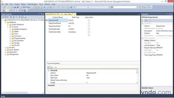 Creating a table in SQL Server Management Studio: Database Fundamentals: Creating and Manipulating Data