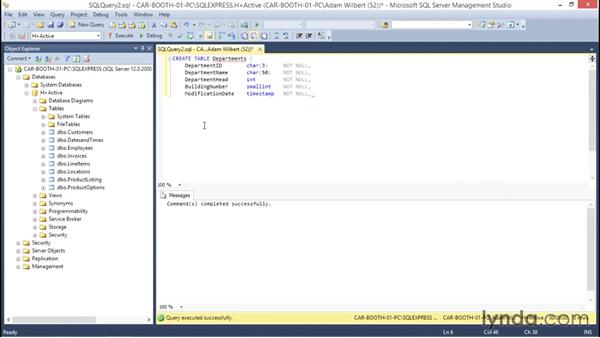 Creating a table using Transact-SQL commands: Database Fundamentals: Creating and Manipulating Data