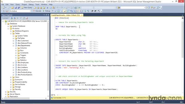 Using SSMS to create reusable scripts: Database Fundamentals: Creating and Manipulating Data