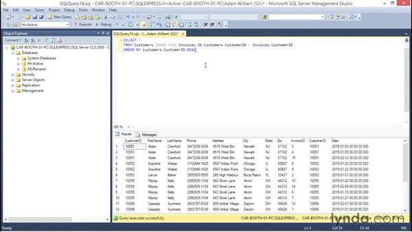 Sorting data with ORDER BY: Database Fundamentals: Creating and Manipulating Data