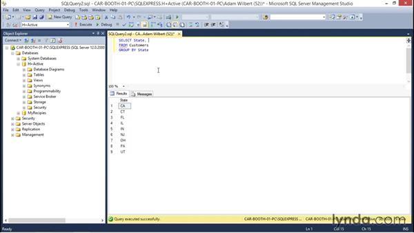 Using aggregate functions: Database Fundamentals: Creating and Manipulating Data