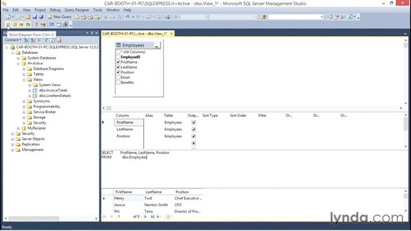 Creating a view in sql server management studio for Studio 52 table view