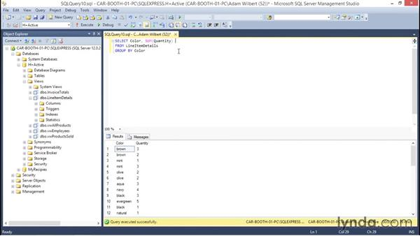Solution: Creating a view: Database Fundamentals: Creating and Manipulating Data