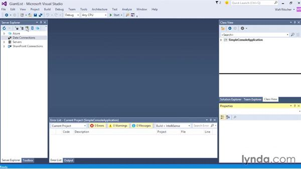 Exploring the IDE windows: Visual Studio 2015 Essentials 02: Getting Comfortable with the IDE