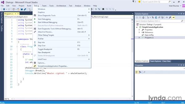Using the dialog windows: Visual Studio 2015 Essentials 02: Getting Comfortable with the IDE
