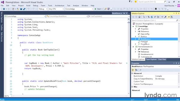 Working with the tabbed editors: Visual Studio 2015 Essentials 02: Getting Comfortable with the IDE