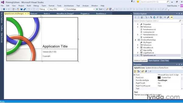 Pinning tabbed editors: Visual Studio 2015 Essentials 02: Getting Comfortable with the IDE