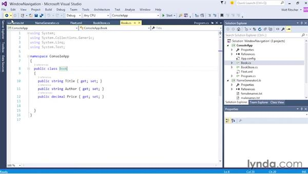 Exploring windows navigation: Visual Studio 2015 Essentials 02: Getting Comfortable with the IDE