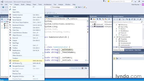 Entering full-screen mode: Visual Studio 2015 Essentials 02: Getting Comfortable with the IDE