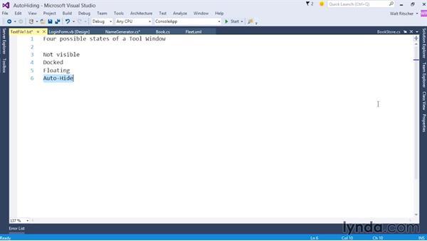 Auto-hiding windows: Visual Studio 2015 Essentials 02: Getting Comfortable with the IDE