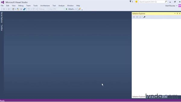 Working with menus and toolbars: Visual Studio 2015 Essentials 02: Getting Comfortable with the IDE