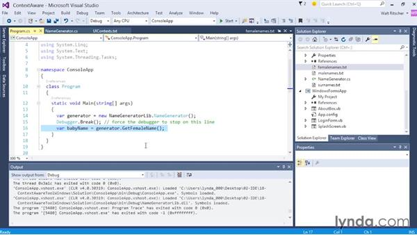 Exploring context-aware tool windows: Visual Studio 2015 Essentials 02: Getting Comfortable with the IDE