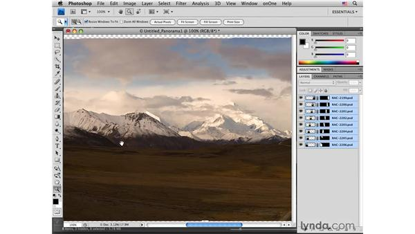 Applying Photomerge to create a panoramic photo: Photoshop CS4 for Photographers: Creative Effects