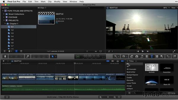 Exploring the Titles Browser: Final Cut Pro X Guru: Titles and Effects
