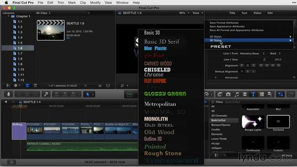 Working with and saving 2D styles: Final Cut Pro X Guru: Titles and Effects