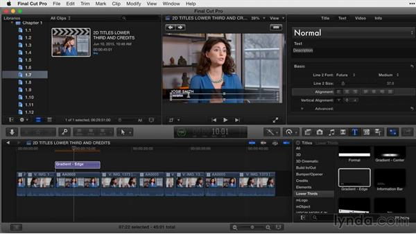 Adding and duplicating lower thirds: Final Cut Pro X Guru: Titles and Effects