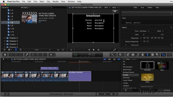 Working with credits: Final Cut Pro X Guru: Titles and Effects