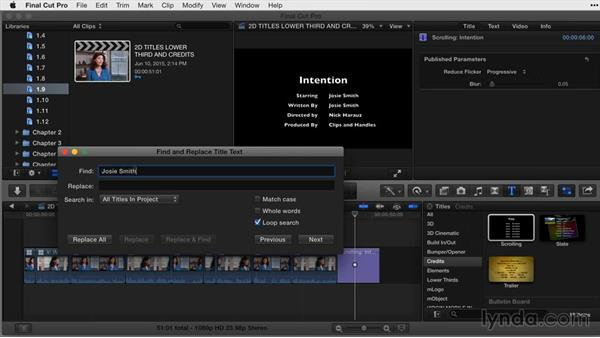 Finding and replacing title text: Final Cut Pro X Guru: Titles and Effects