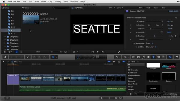 Working with custom text for animation: Final Cut Pro X Guru: Titles and Effects