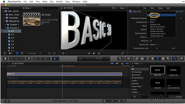 Working with the Basic 3D title template: Final Cut Pro X Guru: Titles and Effects