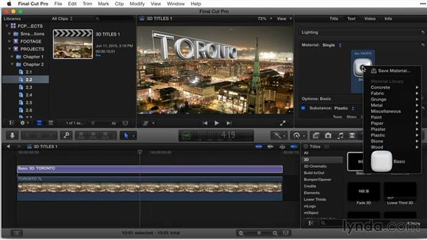 Working with a single material: Final Cut Pro X Guru: Titles and Effects