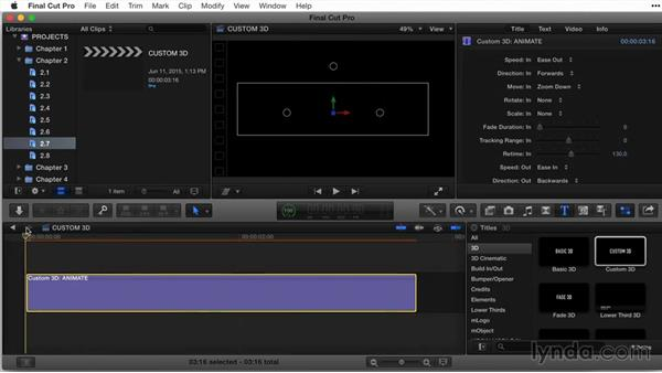 Working with the Custom 3D title template for animation: Final Cut Pro X Guru: Titles and Effects