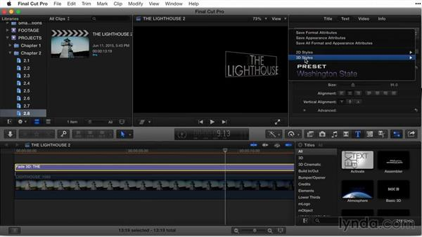 Working and saving 3D styles: Final Cut Pro X Guru: Titles and Effects