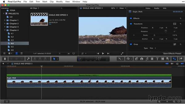 Reversing a clip: Final Cut Pro X Guru: Titles and Effects