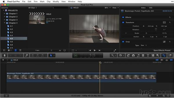 Creating hold frames: Final Cut Pro X Guru: Titles and Effects