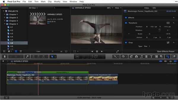 Creating variable speed changes with Blade Speed: Final Cut Pro X Guru: Titles and Effects