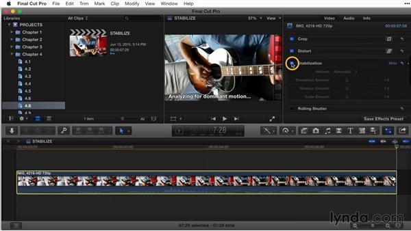 Stabilizing a clip: Final Cut Pro X Guru: Titles and Effects