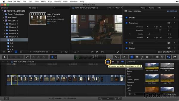 Skimming effects: Final Cut Pro X Guru: Titles and Effects