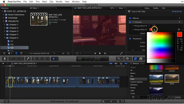 Changing effect parameters: Final Cut Pro X Guru: Titles and Effects