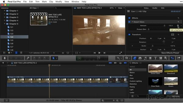 Keyframing an effect in the Inspector: Final Cut Pro X Guru: Titles and Effects