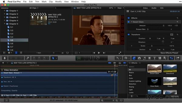 Working with keyframes in the Timeline and Viewer: Final Cut Pro X Guru: Titles and Effects