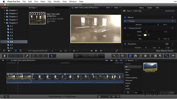 Applying multiple effects and switching effect order: Final Cut Pro X Guru: Titles and Effects