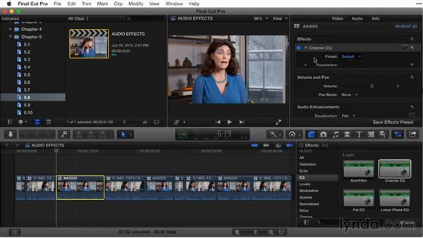 Adding audio effects: Final Cut Pro X Guru: Titles and Effects