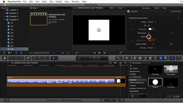 Working with generators and themes: Final Cut Pro X Guru: Titles and Effects