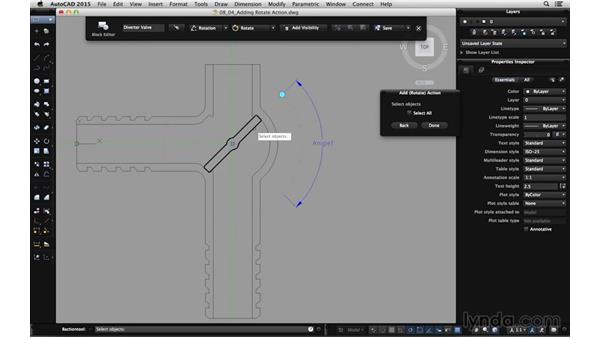 Adding the rotate action: Using Dynamic Blocks in AutoCAD for Mac
