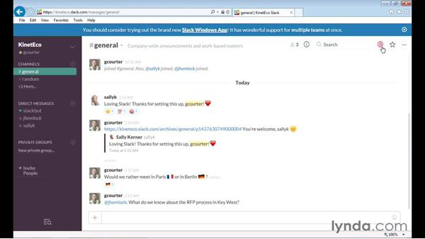 Mentioning a colleague in a message: Up and Running with Slack