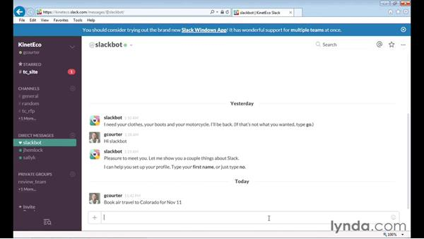 Messaging yourself using Slackbot: Up and Running with Slack