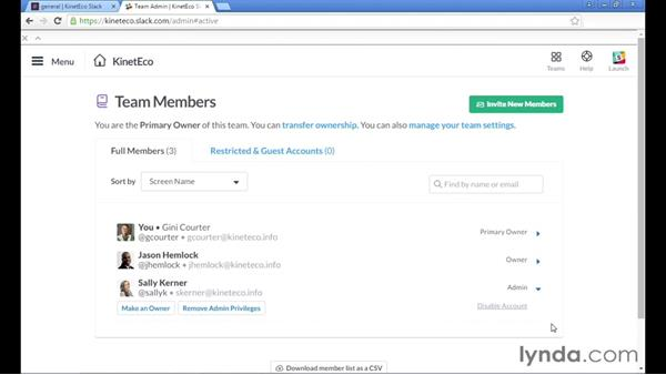Managing team member accounts: Up and Running with Slack