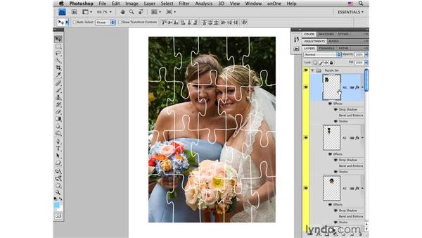 Applying the Puzzle action: Photoshop CS4 for Photographers: Creative Effects